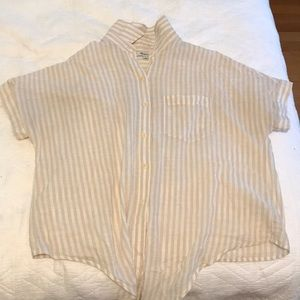 Madewell tan & white stripe tie front button down